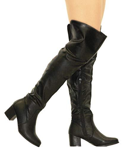 MVE Shoes Womens Over The Knee Stretch Boot - Trendy Low Block Heel Shoe - Comfortable Easy Heel Boot, Black Pu 7