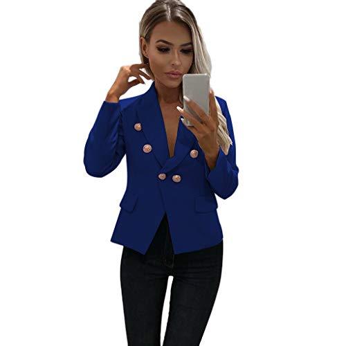 Lmx+3f Women Solid Work Office Coat Long Sleeve Small Blazer Open Front Short Cardigan Suit Jacket Soft Comfy Coats Blue -