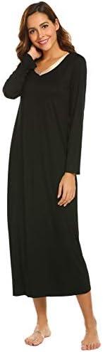 Ekouaer Womens Long Sleeve Nightshirts V-Neck Loose Nightshirt Sleepwear Nightgown Pajama Sleepshirt PJ S-XXL