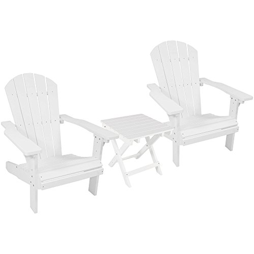 Sunnydaze All-Weather Adirondack Chair Set of 2 with Folding Side Table, Faux Wood Design, White For Sale