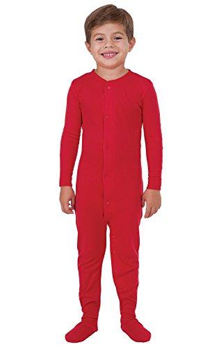 PajamaGram Footed Pajamas for Boys - Cotton Footie Pajamas Kids, Onesie, Red, 12