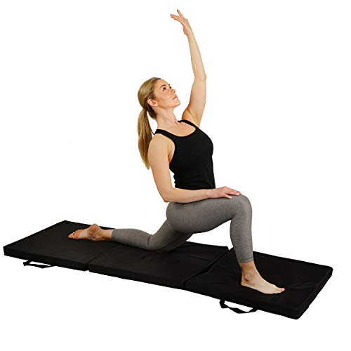 Sunny Health & Fitness Folding Gymnastics Exercise Mat - Extra Thick with Carry Handles - for Exercise, Yoga, Workouts, Fitness, Aerobics, Martial Arts, Gym Mat, Cardio, Tumbling