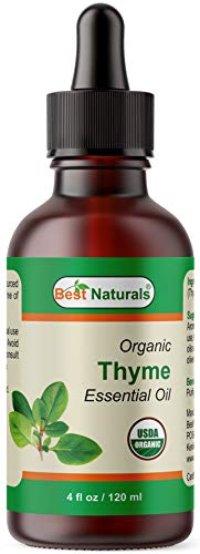 Best Naturals Certified Organic Thyme Essential Oil with Glass Dropper Thyme 4 FL OZ (120 ml)