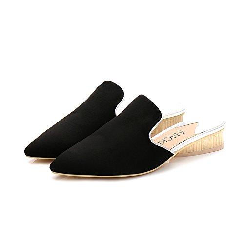 Fankou in autunno e inverno, manualmente nazionale scarpe di vento pigri spessi con scarpe di cotone wild Baotou metà pantofole ,36, nero