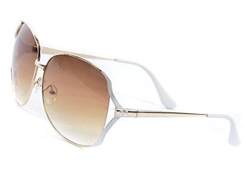 Goson Women's Gradient Gold White Frame/Tortoise Lens Gradient Oversize 65 mm - Sunglasses White Gold And