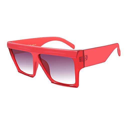 f7ad7ce9fd2 MEETSUN Oversized Flat Top Sunglasses for Women Men Square Designer Fashion  Shades