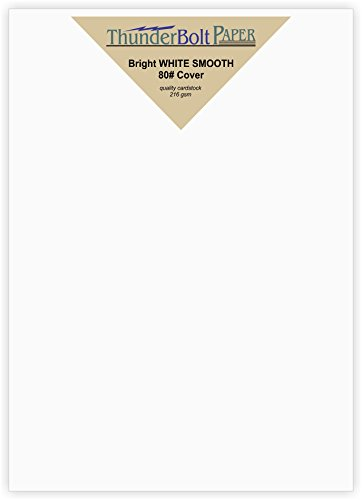 100 Bright White Smooth Card Paper Sheets - 80# Cover Weight - 5