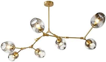 LUOLAX Modern Pendant Light Glass Chandelier 7-Heads, Gold Bronze-Gradient Gray Lampshade