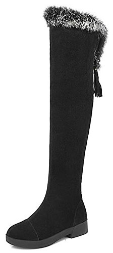 Side Round Summerwhisper Riding up Heel Fringe Zipper Black Over Fur Tall Womens Faux Suede Lace Toe Comfy the Knee Low Boots 1qn7xqXp