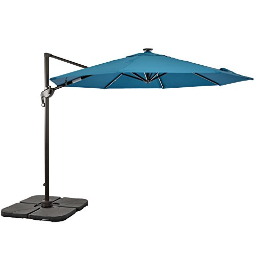 LCH 10ft Offset Cantilever Outdoor Umbrella Patio Backyard Garden Lawn Poolside Cross Base, UV Protective Light, Blue