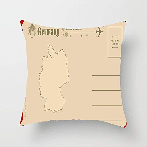 HOOSUNFlagrbfa Air Vintage Map Germany Back Postal Airmail Travel Cute Greeting Post Message Letter Mail Retro Throw Pillow Cover Square Pillowcase 18x18 Inches for Home Decor Sofa Bedroom