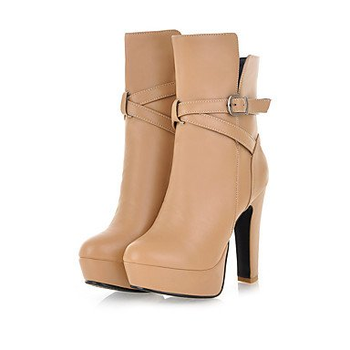 Botas de mujer zapatos Club PU Otoño Invierno Casual botas de combate Chunky talón Almendra blanco negro 3A-3 3/4 pulg. Black