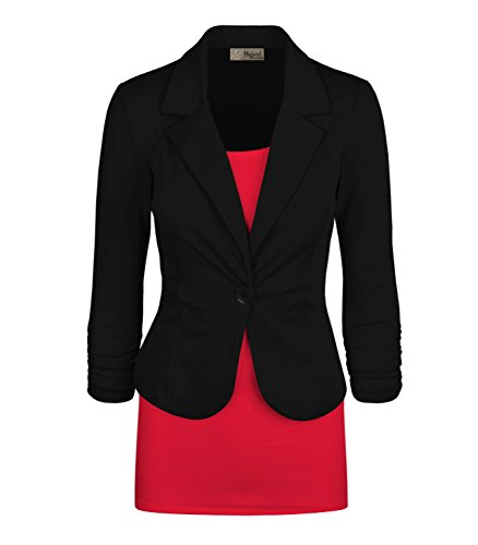 Women's Casual Work Office Blazer Jacket JK1131 Black Medium