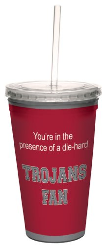 Tree-Free Greetings cc34584 Trojans College Football Fan Artful Traveler Double-Walled Cool Cup with Reusable Straw, 16-Ounce ()