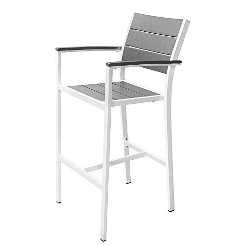 Renovoo Aluminum Stack Bar Hgt Stool with Arms, Pack of 2, Grey Color Plastic Seat and Back Slats with Woodgrain, White Powder Coated Aluminum Frame, 30 inches Seat Height, Outdoor Patio Use