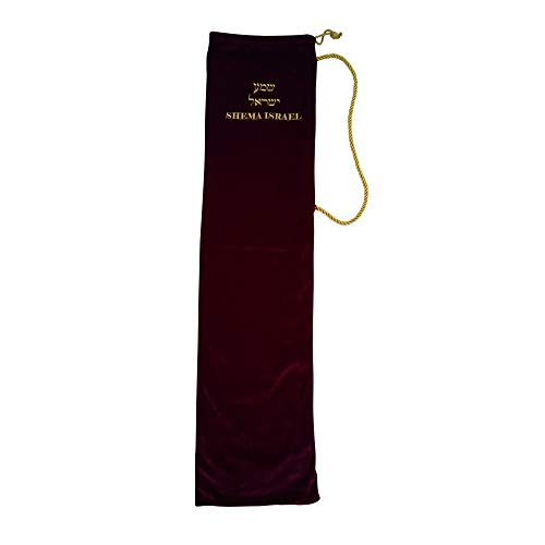 Shema Israel Stretch Velvet Yemenite Shofar Accessory/Carrying/Gift Bag, Specialty Hebrew Embroidered Jumbo (Holds up to 36