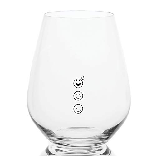 Emoji Stemless Measuring Wine Glasses with Measuring Marks of 4, 6, and 8 ounces, Great for Portion Control, and Divvying up Wine for Parties (Emoji, 2-Pack)