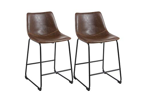 Phoenix Home Malaga Faux-Leather Counter-Height Bar Stool, Brown , Set of 2 ()