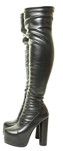 Tilly London Sexy Womens Black Sexy Stretchy Over The Knee Wide Calf Stretch Suede Platform Thigh High Heel Boots Sizes 3 4 5 6 7 8 UK Black-mat 5S2gyEjHG