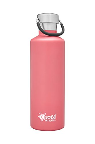 (CHEEKI Stainless Steel Water Bottle, Insulated Classic Range (600 ml/20 oz); Reusable Metal Sports Thermos, BPA-Free and Safe Drink Bottle, Cool Thermal Flask for Running, Gym, Cycling and School )