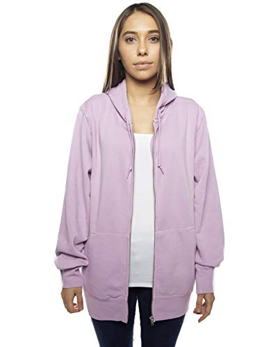 Cottonhood Adult Unisex Pigment Dyed Full Zip Pullover Hoodie Sweatshirt (Medium, Lavender) (Cotton Zip Pigment Dyed Full)