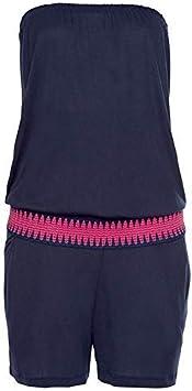 Azul 2XL Acreny Mujer Hombro Descubierto Traje sin Mangas Pantalones Cortos Monos para el Verano