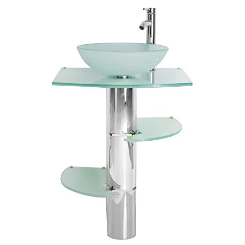 Modern Bathroom Vanity 20inch Pedestal Frosted glass Vessel Sink Faucet Shelves pop up (Frosted Glass Vessel Pedestal Vanity)
