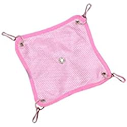 Sannysis Hammock for Pet Hamster Rat Parrot Ferret Hamster Hanging Bed Cushion House Cage (S, Pink)