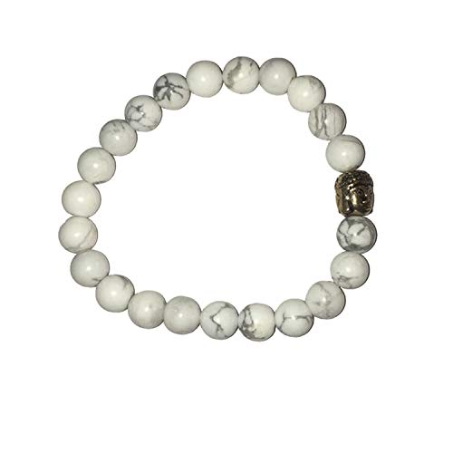Aatm Natual Healing Gemstone Howlite Buddha Beaded Charm Bracelet for Healing and Meditation (Beads Size - 7-8 mm)