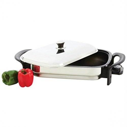 Precise Heat T304 Stainless Steel Non-stick Rectangular Electric Skillet- Stick Ss Electric Skillet