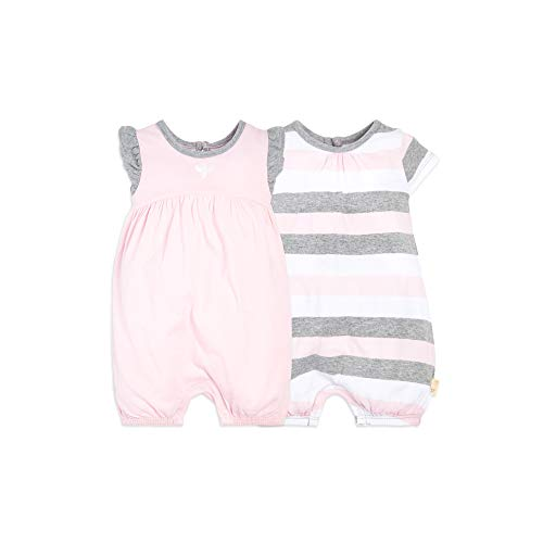 Burt's Bees Baby Girls Rompers, Set of 2 Bubbles, One Piece Jumpsuits, 100% Organic Cotton, Blossom Multi Stripe, 12 ()