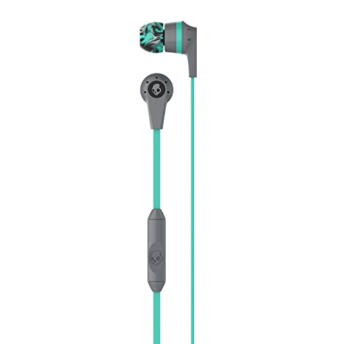 Skullcandy Ink'd 2.0 Wired Earbuds with in-Line Microphone and Remote, Tangle-Reducing Flat Cable, Noise-Isolating Supreme Sound with Powerful Bass and Precision Highs, Gray/Mint