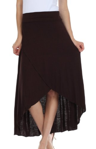 Sakkas 0326 Soft Jersey Feel Solid Color Strapless High Low Dress/Skirt - Brown/X-Large