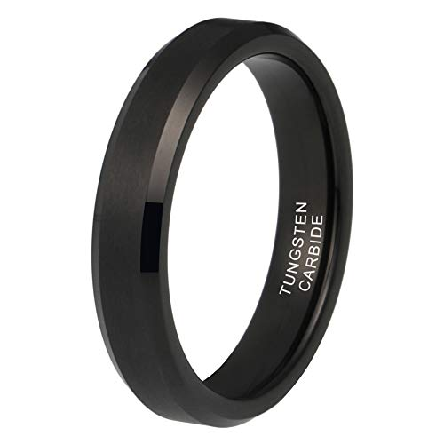iTungsten 4mm Black Tungsten Rings for Women Men Wedding Bands Matte Finish Beveled Edges Comfort Fit