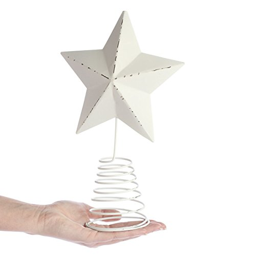 Pair of Rustic Painted White Tin Star on a Coil Spring Base for Tree Tops, Table Decor and More