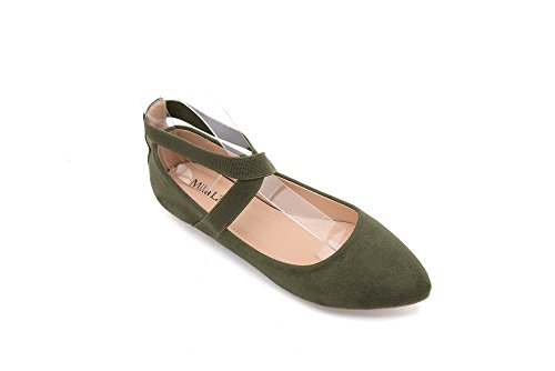 Olive Point - Mila Lady (Yvonne Fashion Elastic Crossing Ankle Straps Slip On Point Toe Flat Shoes.Olive 11