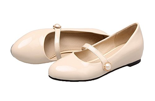 Patent Round Leather Closed Pull Women's WeenFashion Heels Shoes Low On Pumps apricot Toe 5EA4cww0xq