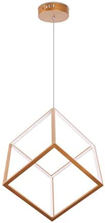 Leniure Gold Cubic LED Light Pendant Lamp Chandelier Lighting Fixture 12 Wide 12 Deep 12 High, Warm White 3000K