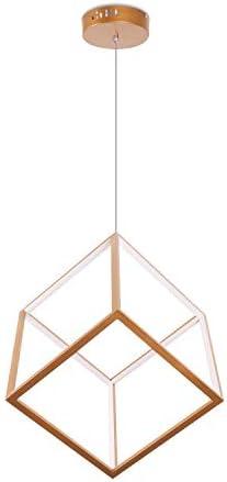 Leniure Gold Cubic LED Light Pendant Lamp Chandelier Lighting Fixture 12″ Wide 12″ Deep 12″ High