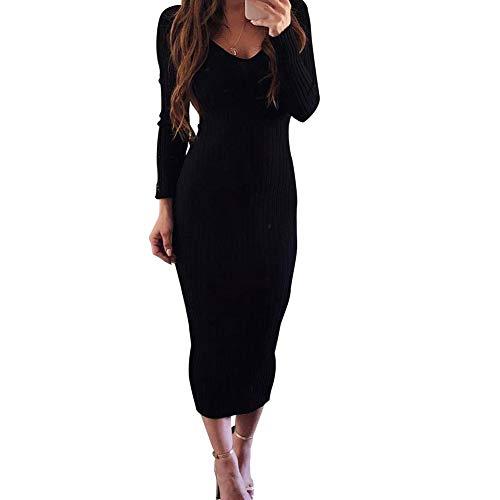 Zyyfly Women Warm Sweater Dress Long Sleeve Knit Sexy V Neck RibbedBodyconDress Black