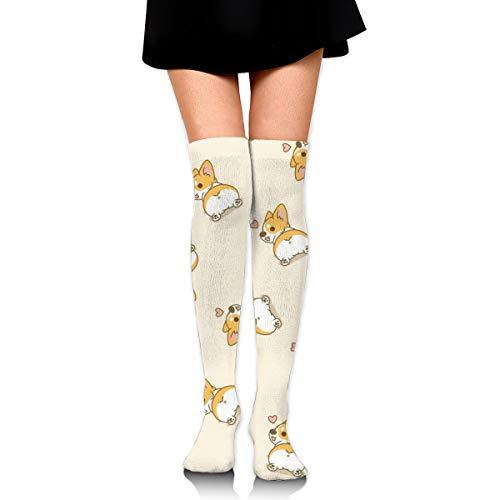 Over Knee Thigh Socks Knee-High Warm Stocking Women Boot Sock Leg Warmer High Socks For Daily Wear/Cosplay Corgi Butt Heart Corgi ()