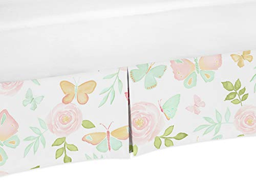 Sweet Jojo Designs Blush Pink, Mint and White Watercolor Rose Pleated Toddler Bed Skirt Dust Ruffle for Butterfly Floral Collection