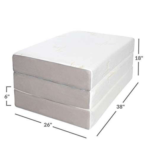 Milliard Tri Folding Memory Foam Mattress with Washable Cover Twin XL (78 inches x 38 inches x 6 inches)
