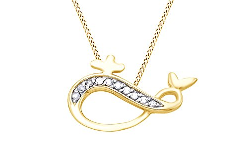White Natural Diamond Whale Infinity Pendant Necklace in 14k Yellow Gold Over Sterling Silver (0.1 (14k Diamond Whale)