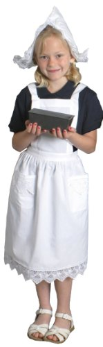Deluxe Girls Lace Victorian Maid Costume Kids Full White Apron with Pockets (Ages (Kids French Maid Costumes)