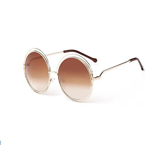 de marca de de moda mujer señoras Vintage mujer sol gafas gafas Oro diseñador grande de sol para Té Gafas de hembra redondo qRgAX