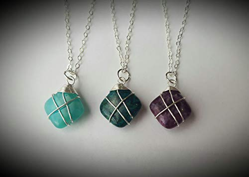 (Ethereal Earth sterling silver wire wrapped Aquamarine, Phoenix Stone, and Lepidolite, pick one or buy as a set of 2 or 3, custom length chain, gemstone necklace 12mm stone )