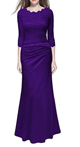 Gown Long A Lace Dress Women Purple Maxi Line Evening Jaycargogo Bridesmaid Wedding w1qavZAn4