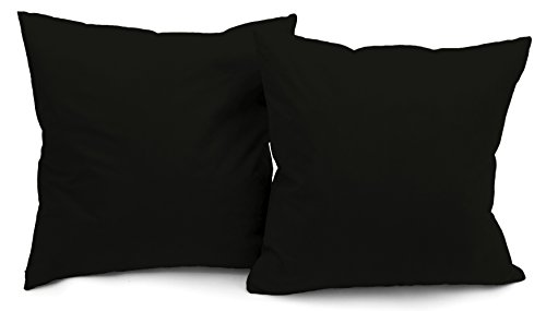 Deluxe Comfort Modern Microsuede Throw Pillows - Down Feather Filled - Many Decorative Colors - Soft Microsuede Cover - Throw Pillow, Black - Set of 2 ()