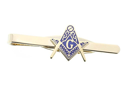 Masonic Blue Lodge Cut Out Shaped Compass and Square Tie Clip / Tie Bar - Gold Color with Classic Freemasons Symbol (Masonic (Lodge Bar)
